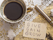 cup of coffee with motivation quote