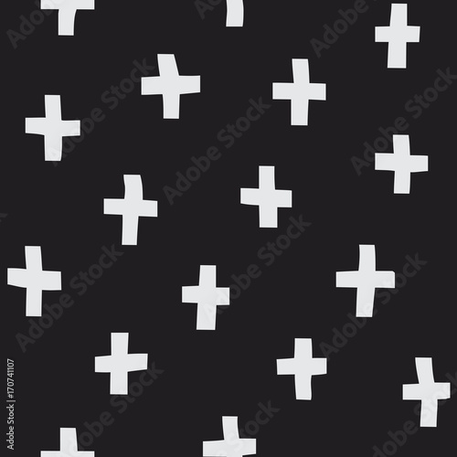 Scandinavian style plus sign seamless vector pattern. Modern and simple background texture for print, textile, web, or any use. - 170741107