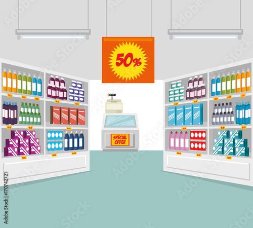 supermarket store consumerism concept vector illustration graphic design
