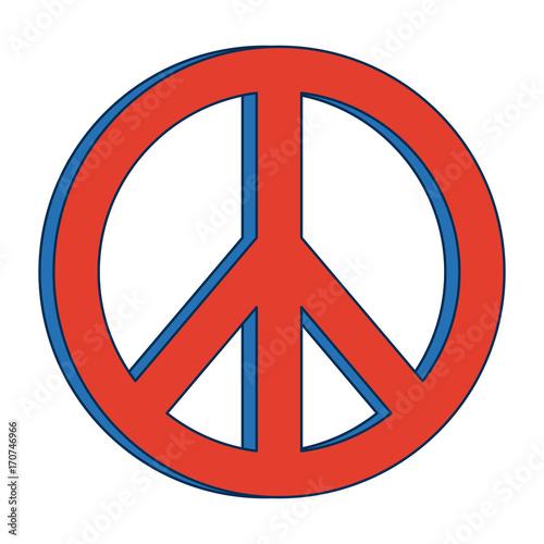 hippie peace love circle button element symbol vector illustration