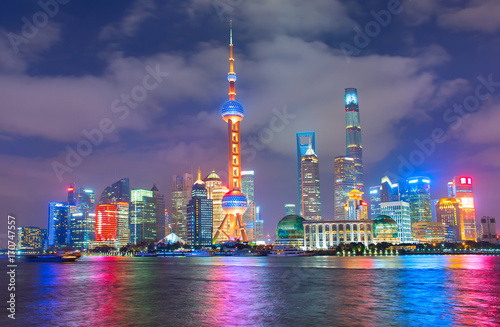 Night skyline of Shanghai. China Poster