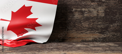 Aluminium Canada Canada flag on wooden background. 3d illustration