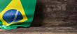 Quadro Brazil flag on wooden background. 3d illustration