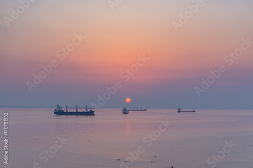 Fotobehang Cyprus Sunrise over the sea, in Larnaca.