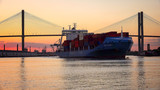 Commercial Container / Cargo Ship on Savannah River at Sunset
