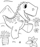 Cute Tyrannosaurus rex Dinosaur Vector Illustration Art