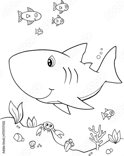 Fotobehang Cartoon draw Cute Shark Vector Illustration Art