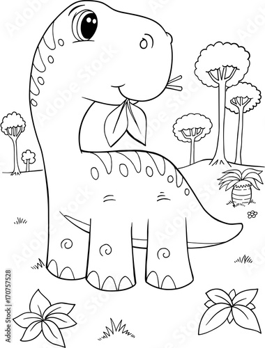 Fotobehang Cartoon draw Cute Brachiosaurus Dinosaur Vector Illustration Art