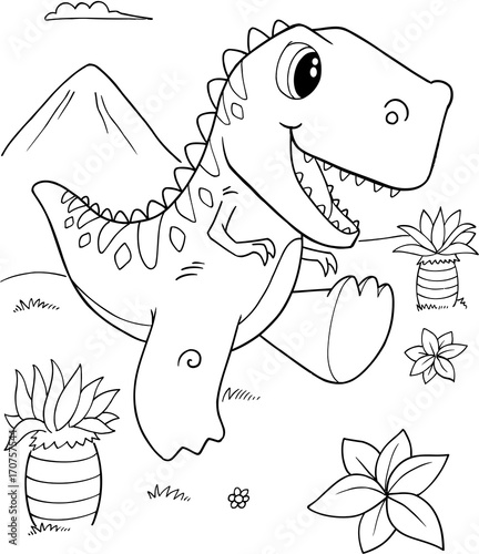 Foto op Canvas Cartoon draw Cute Tyrannosaurus rex Dinosaur Vector Illustration Art
