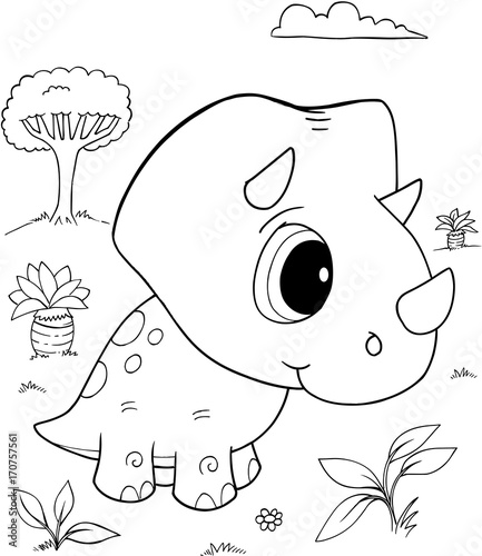 Fotobehang Cartoon draw Cute Baby Triceratops Dinosaur Vector Illustration Art