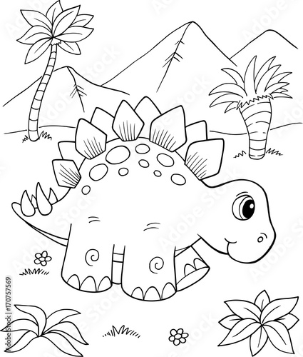 Fotobehang Cartoon draw Cute Stegosaurus Dinosaur Vector Illustration Art