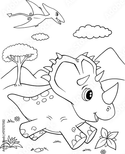 Fotobehang Cartoon draw Cute Triceratops Dinosaur Vector Illustration Art