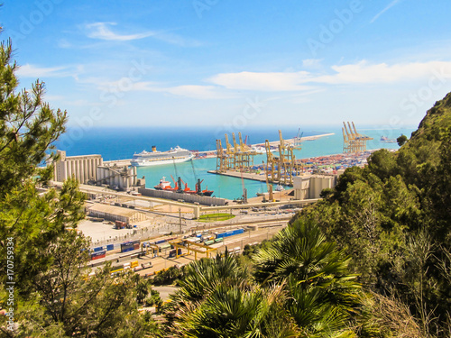 Aluminium Barcelona Terminal Port Nou viewed from Montjuic Park in Barcelona
