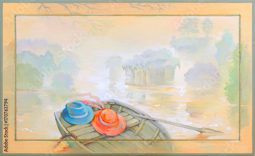 In the fog. Oil painting on wood. Beautiful landscape with a boat on the river bank. Oil painting on wood. Beautiful landscape with a boat on the river bank.