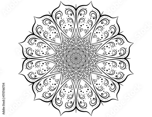 Decorative pattern mandala. Oriental round symmetrical ornament