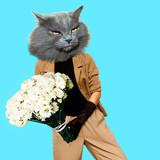Gentleman Cat. Vintage clothing. Art collage. Minimal fun - 170770369