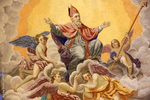 Foto Murales Saint-Nicolas, évêque de Myre, monte au ciel. Eglise Saint-Nicolas de Véroce. St. Nicholas, bishop of Myre, ascends to heaven.