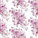Seamless pattern. Pink flowers lilac. Vector background banner. - 170776188