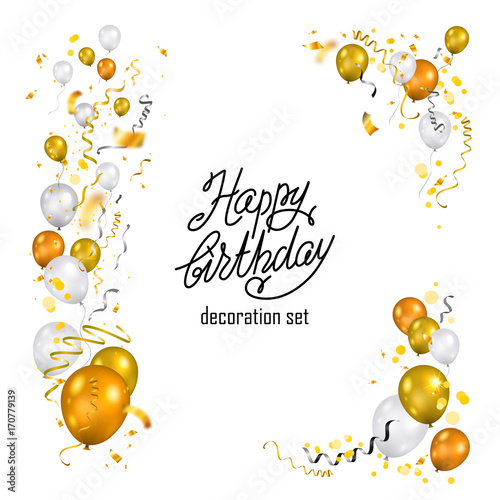 Gold and white balloons set