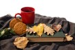 Black coffee, cookies, diary and autumn leaves on woolen blanket