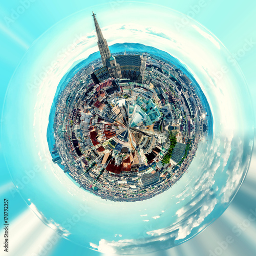 Little planet 360 degree sphere. Panorama of Vienna. Austria