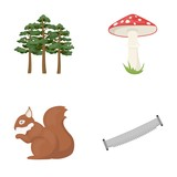 Pine, poisonous mushroom, tree, squirrel, saw.Forest set collection icons in cartoon style vector symbol stock illustration web.
