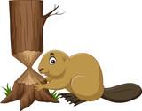 Cartoon beaver cutting tree