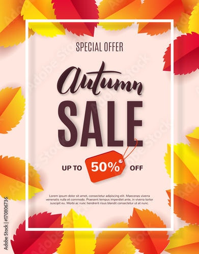 Autumn sale poster with bright leaves, template for shopping discount promotion. Vector illustration