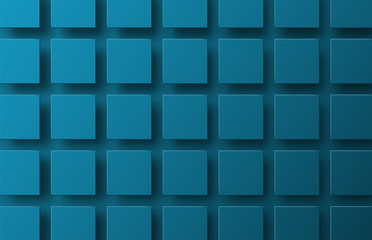 Template of a blue vector background with squares hanging in the air casting a shadow