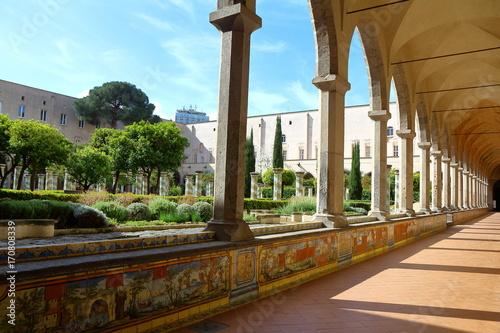 Fotobehang Napels Santa Chiara cloister, Naples, Italy