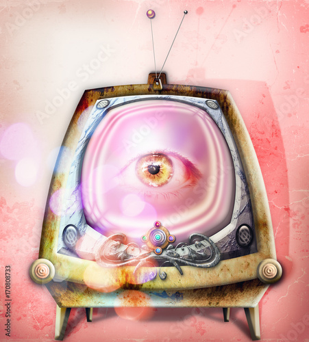 Staande foto Imagination Big brother. Graffiti e collage con televisore fantascientifico e steampunk