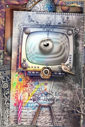 Fotobehang Imagination Big brother. Graffiti e collage con televisore fantascientifico e steampunk