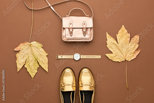 Autumn Arrives. Fall Fashion Glamour Lady Look.Trendy Gold Handbag Clutch. Fashion Stylish Glamour Shoes, Watches. Autumn Vintage Concept. Minimal