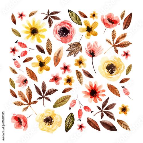 Materiał do szycia Akwarela elementy kwiatowy na białym tle.