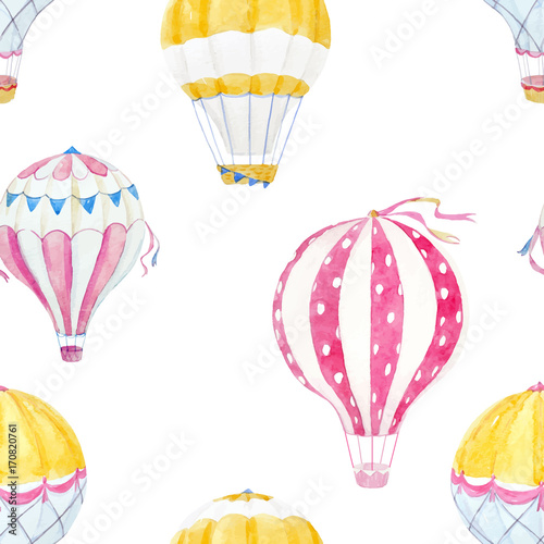 Watercolor air baloon vector pattern
