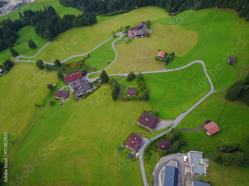 Foto op Plexiglas Gras Österreichische Alpen aus der Luft