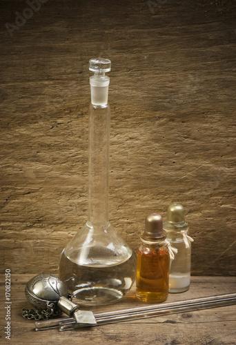 Fotobehang Spa Vials of perfume oils in fragrance lab