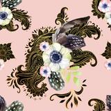 Watercolor flower arrangement on ethnic background - 170822779