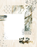 Abstract watercolor background with doodles, marbling, grained, grunge, paper textures. - 170823379