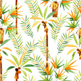 Abstract watercolor palm trees and leaves seamless pattern. - 170824183