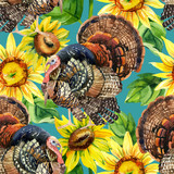 Watercolor turkey with sunflowers seamless pattern - 170825726