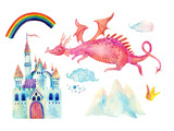 Watercolor fairy tale collection with cute dragon, rainbow, magic castle, little princess crown, mountains and fairy clouds - 170825787