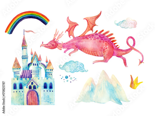 Watercolor fairy tale collection with cute dragon, rainbow, magic castle, little princess crown, mountains and fairy clouds © Tanya Syrytsyna