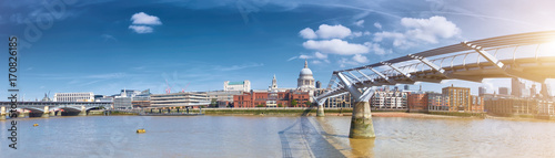 London, panorama of St. Paul's cathedral and Millenium bridge