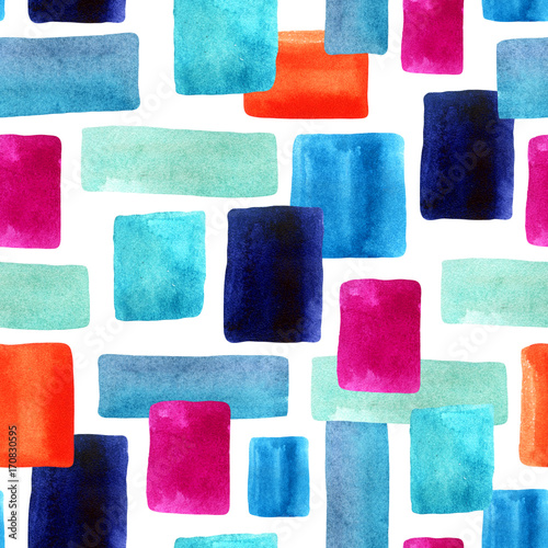 Cotton fabric Watercolor rectangles with paper texture bacground.