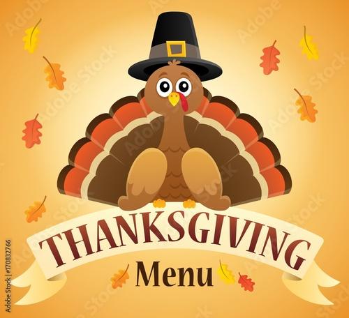 Fotobehang Voor kinderen Thanksgiving menu theme image 2