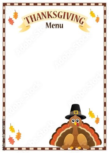 Fotobehang Voor kinderen Thanksgiving menu theme image 3