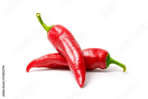 Aluminium Hot chili peppers Red hot chili pepper isolated on white background. Spice for a delicious meal.