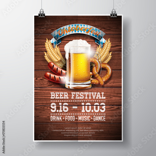 Oktoberfest poster vector illustration with fresh lager beer on wood texture background. Celebration flyer template for traditional German beer festival. - 170833554