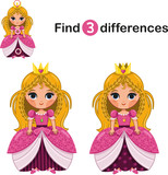 Find 3 Differences Between two Princess
